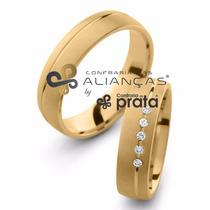 Par De Aliança Ouro 18k - 5mm/10grs - 5 Diamantes - Dc539