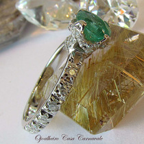 Solitário Esmeralda Em Aliança Inteira De Diamantes Ouro 18k