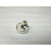 Par De Alianças Prata 950 Diamantada/ Anatômica/ Namoro