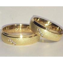Par De Alianças Ouro 18k Prata 950 6mm Zirconia Casamento