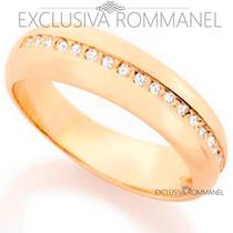 Rommanel Anel Aliança 21 Zirconias Folheada Ouro 18k 511693