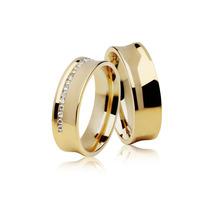 Par De Aliança My Dream Em Ouro 18k Com Diamantes Promoção