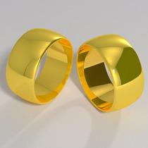 Lindo Par De Alianças De Ouro 18k 8mm 11 Gramas