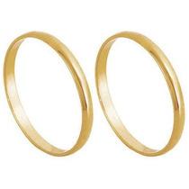 Par Aliança De Casamento E Noivado Em Ouro 18k Abaulada Lisa