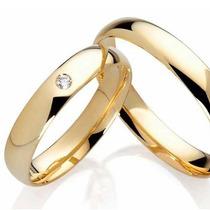 Par De Aliança Fina Em Ouro18k Com Diamante Central Promoção