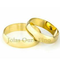 Par De Aliança Em Ouro 18k Pra Casamento Tradicional Barata