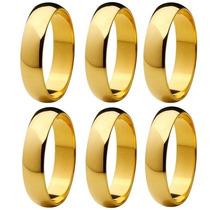 Lote Com 6 Alianças Aço Inox 5.5mm Banho Dourado (promoção)