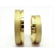 Par De Alianças Prata 950 Folheadas A Ouro 18k Casamento