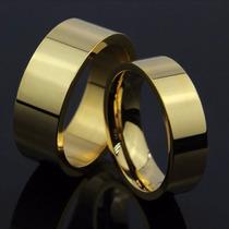 Par - Aliança Anel Titânio Banhada Ouro 18k Noivado Casament