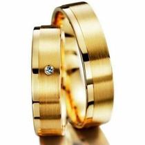 Par De Alianças Ouro 18k 4mm 14gr 1 Diamante 2p Frete Grátis