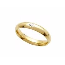 Aliança Anel Ouro 750 18k Com Diamante
