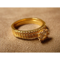 Anel Dourado Com Zircônias - 3 Alianças Com Chuveirinho