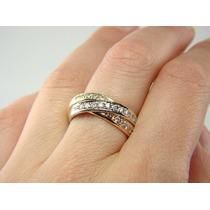 Maravilhoso Anel Meia Aliança Em Ouro 18 Quilate E Diamantes