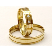 Joianete Par Aliança Ouro18k 6gr 2canal2diamantes-casamento