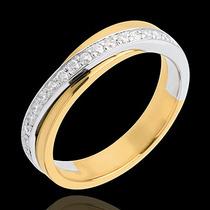 Meia-aliança Em Ouro Branco E Amarelo 18k +diamantes !!