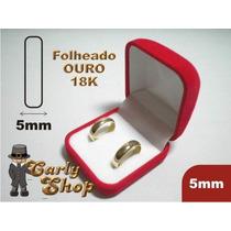 Duas Alianças Grossas Folheadas Ouro 18k (5mm)+frete Grátis+