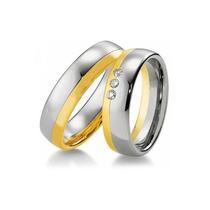 Alinças De Casamento 2 Tons Em Ouro 18 Quilate