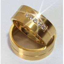 Par Alianças 8 Grs Ouro 18k/ 750 Diamantes Frete Nota Fiscal