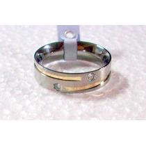 Aliança Aço Inox Reta 6mm 1 Fio De Ouro Espiral 2 Zirconias