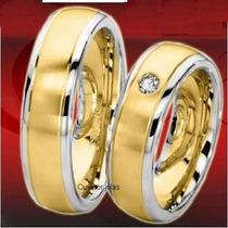 Par Alianças 24 Grs Ouro18k/ 750 Diamantes Frete Nota Fiscal
