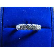 Alianca Inteira De Ouro Branco 18k Com Diamante 10