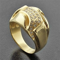 Anel Em Ouro Amrelo 18 Quilates + Diamantes