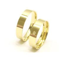 Aliança Ouro18k 5grama(par) Reta1diamante Casamento-joianete