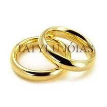 Aliança Folheada C\3 Camadas De Ouro 18k 5mm