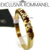 Rommanel Anel Aliança Aparador Vermelho Folheada Ouro 510025