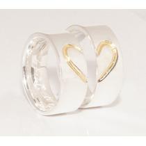 Alianças Coração De Ouro Compromisso Namoro Prata 950k (par)