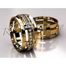 Alianças Ouro 18k E Zirconias Design Exclusivo! Casamento