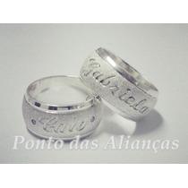 Par Alianças Prata 950 10mm Gravação Externa !! Promoção !!