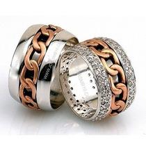 Par De Alianças Em Ouro Branco E Rosê 18k Com Diamantes -