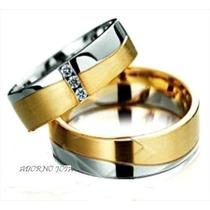 Par Alianças 24 Grs Ouro18k Diamantes Frete 12 X Sem Juros!!