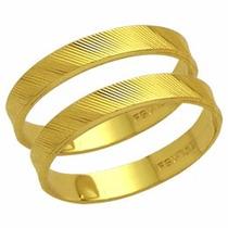 Par De Aliança De Casamento Reta Trab Em Ouro 18k - Al41