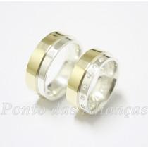Par Alianças Ouro18k/750 Prata 950 Noivado/casamento Lindas!