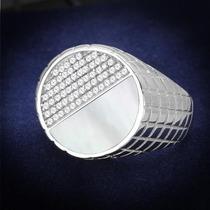 Anel Masculino Em Prata 925 Pedra Semi Preciosa Madrepérola