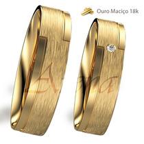 Par Alianças De Ouro 18k 4mm 8 Gramas Noivado E Casamento