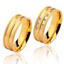 Par De Aliança Ouro 18k - 7mm/16grs - 06 Diamantes - Dc703