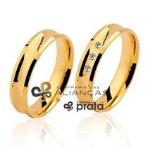 Par De Aliança Ouro 18k - 5mm/8grs - 03 Diamantes - Dc505