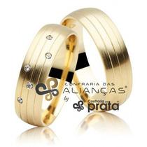 Par De Alianças 8mm 16 Grs Ouro 18k C/ Diamantes + Gravação