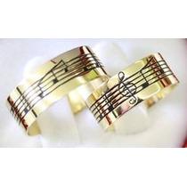 Super Promoção Aliança De Ouro 18k Com Notas Musicais