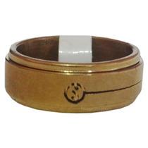 Anel Giratório De Aço Inox Dourado Yin Yang