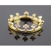 Anel Feminino Aro 14 Coroa Delicada Ouro Com Cristais J2511e