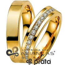 Par De Aliança Ouro 18k - 4mm/10grs - 14 Diamantes - Dc427