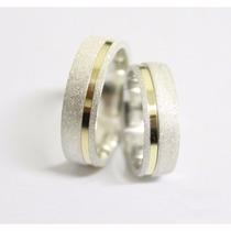 Alianças Diamantada Namoro 6mm Prata 950 Ouro Entrega Rapida