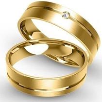 Alianças De Ouro 18 K 6 Mm Com Diamante De 1 Pts Casamento !