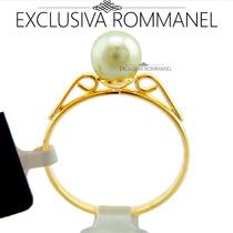 Rommanel Anel Solitario Com Perola Alianca Folh Ouro 510171