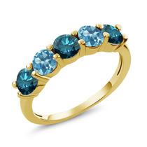 Blue Diamond Anel De Ouro Amarelo