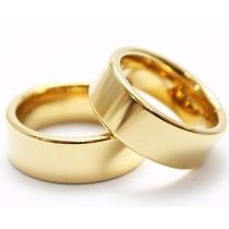 Alianças De Ouro 18k Modelo Reta 14 Grs 6mm Polida Casamento